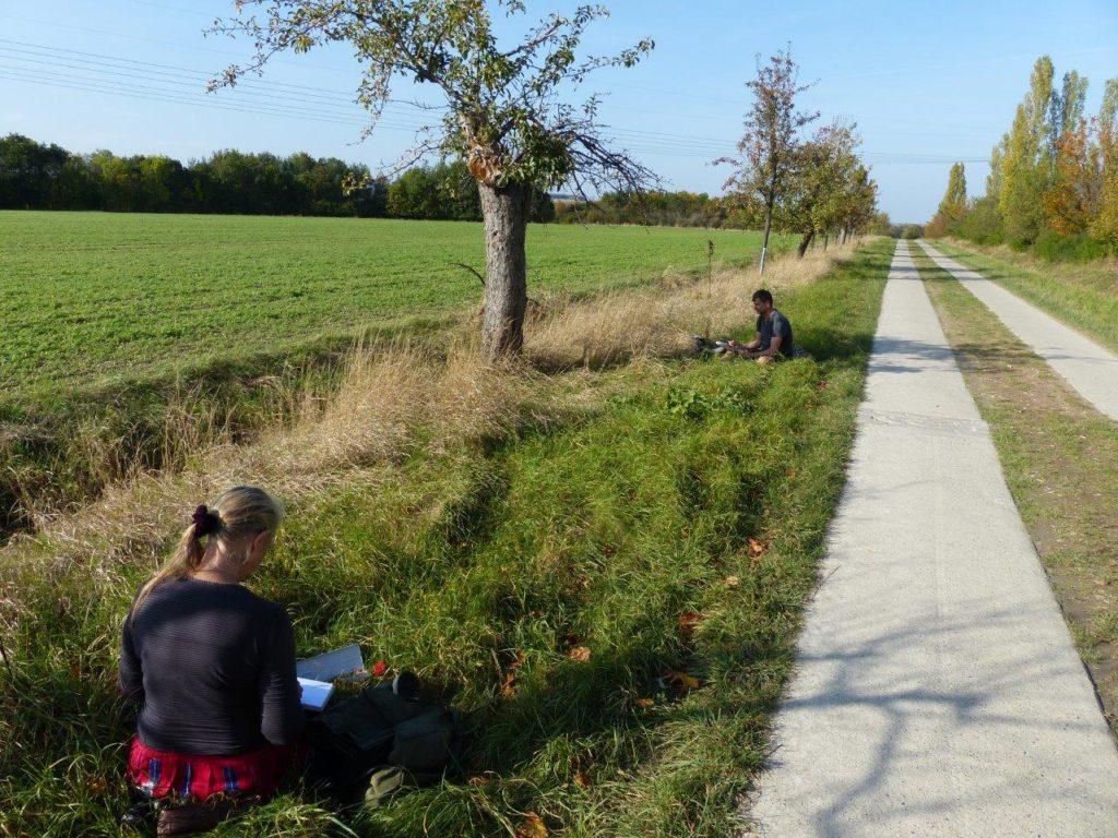 Zeichnen an der Via Romea in Veckenstedt
